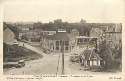 """CPA FRANCE 14 """" Franceville Plage, Carrefour de la Poste""""."""