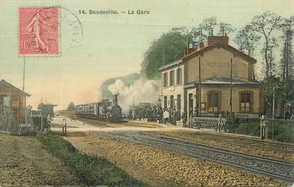 """CPA FRANCE 76 """"Doudeville, la gare"""" / TRAIN"""