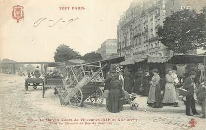 """CPA FRANCE 75012 """"Le Marché Cours de Vincennes"""""""