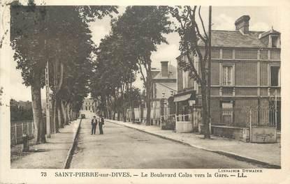 """CPA FRANCE 14 """"St Pierre sur Dives, Le Boulevard Colas vers la gare""""."""