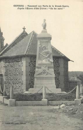 """CPA FRANCE 14 """"Grimbosq, Le monument aux morts""""."""