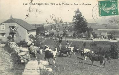 """CPA FRANCE 39 """"Le Lac des Rouges Truites, La Voisinal, la gare et le cimetière""""."""