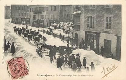"""CPA FRANCE 39 """"Morez, Le chasse neige dans la grande rue""""."""