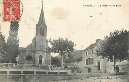 """CPA FRANCE 38 """"Vignieu, La place et l'église""""."""