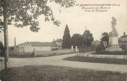 """CPA FRANCE 38 """"St Quentin Fallavier, Le monument aux morts, Usine de Guimperie""""."""