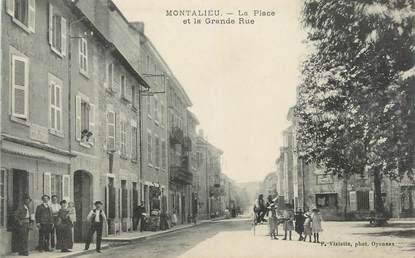"""CPA FRANCE 38 """"Montalieu, La place et la grande rue""""."""