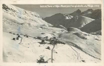 """CPSM FRANCE 38 """"L'Alpe d'Huez, Vue générale et La Meije""""."""