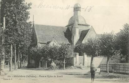 """CPA FRANCE 14 """"Mézidon, Place et Eglise du Breuil"""""""