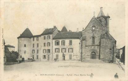 """CPA FRANCE 23 """" Bourganeuf, Eglise, Place Martin Nadaud""""."""