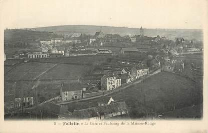 """CPA FRANCE 23 """" Felletin, La gare et Faubourg de la Maison Rouge""""."""