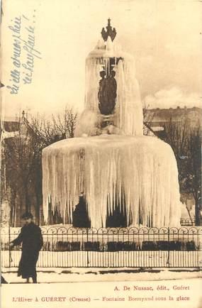 """CPA FRANCE 23 """" Guéret, Fontaine Bonnyaud sous la glace""""."""