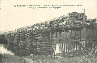 """CPA NOUVELLE CALEDONIE """"Passerelle sur la Rivière de la Dumbéa, passage du train"""""""