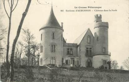 """CPA FRANCE 23 """" Environs d'Aubusson, Le château dans la forêt""""."""