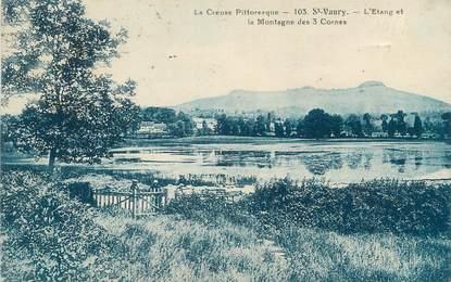 """CPA FRANCE 23 """" St Vaury, L'étang et la Montagne des 3 Cornes""""."""