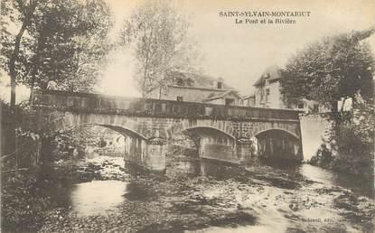 """CPA FRANCE 23 """" St Sylvain Montaigut, Le pont et la rivière""""."""