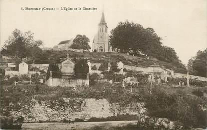 """CPA FRANCE 23 """" Sermur , L'église et le cimetière""""."""