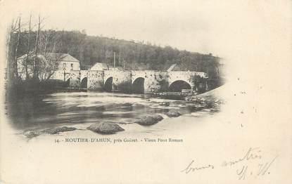 """CPA FRANCE 23 """"Moutier d'Ahun, Vieux pont roman""""."""