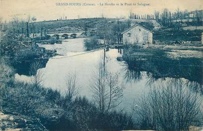 """CPA FRANCE 23 """"Grand Bourg, Le Moulin et le Pont de Salagnac""""."""