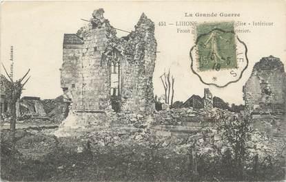 "CPA FRANCE 80 ""Lihons, L'église en ruine""."