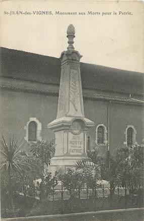 """CPA FRANCE 71 """" St Jean de Vignes, Le monument aux morts""""."""