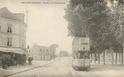 "CPA FRANCE 94 "" Bry sur Marne, Station des tramway""."