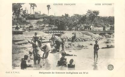 """COTE D'IVOIRE """"Baignade de femmes indigènes au N'zi"""""""