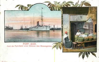 """CPA EGYPTE """"Port Saïd, le port avec Bateau des Messageries"""""""