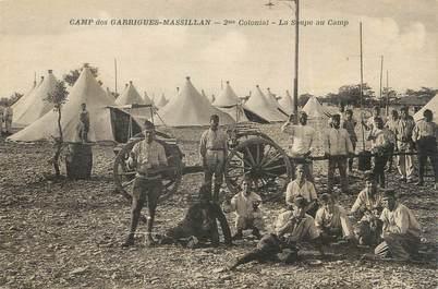 """CPA FRANCE 30 """"Massillan, Le Camp des Garrigues, la soupe au camp""""."""