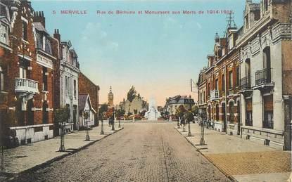 """CPA FRANCE 59 """" Merville, Rue de Béthune et monument aux morts""""."""