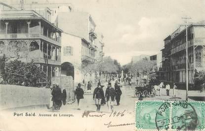 """CPA EGYPTE """"Port Saïd, avenue de Lesseps"""""""