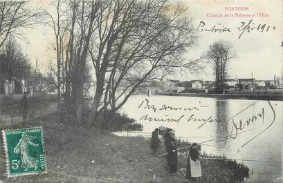"""CPA FRANCE 95 """" Pontoise, Chemin de la Pelouse et l'Oise""""."""