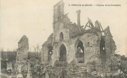 """CPA FRANCE 02 """"Presles et Boves, L'église et le cimetière""""."""