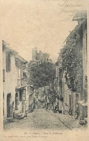 """CPA FRANCE 12 """" Najac, Rue et château""""."""