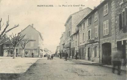 """CPA FRANCE 38 """" Montalieu, La place et la grande rue""""."""