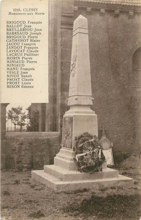 "CPA FRANCE 71 "" Clessy, Le monument aux morts""."