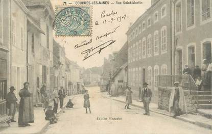 """CPA FRANCE 71 """" Couches les Mines, Rue St Martin""""."""