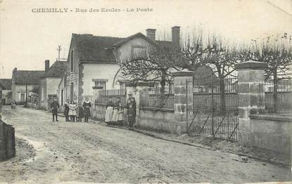 """CPA FRANCE 71 """" Chemilly, Rue des écoles, La Poste""""."""