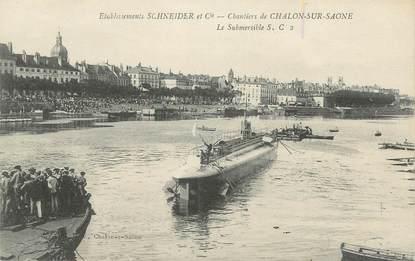 """CPA FRANCE 71 """" Chalon sur Saône, Etablissements Schneider et Cie, le submersible""""."""