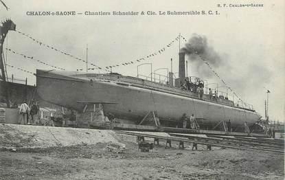 """CPA FRANCE 71 """" Chalon sur Saône,Chantiers Schneider et Cie, Le submersile SC1""""."""