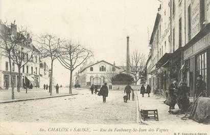 """CPA FRANCE 71 """" Chalon sur Saône, Rue du Faubourg St Jean des Vignes""""."""