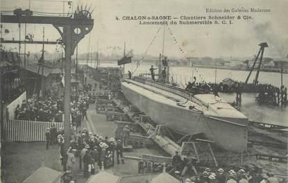 """CPA FRANCE 71 """" Chalon sur Saône, Chantiers Schneider et Cie, lancement du submersilbe SC1""""."""