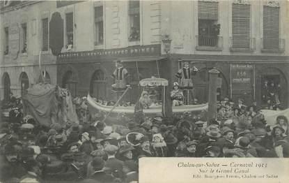 """CPA FRANCE 71 """" Chalon sur Saône, Le carnaval de 1913, Sur le grand canal""""."""