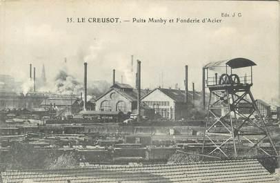 """CPA FRANCE 71 """" Le Creusot, Puits Manby et fonderie d'acier""""."""