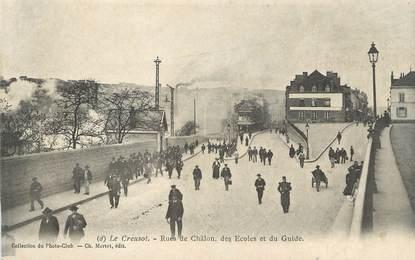 """CPA FRANCE 71 """" Le Creusot, Rue de Châlon, des écoles et du guide""""."""