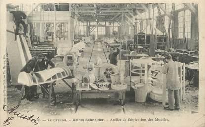 """CPA FRANCE 71 """" Le Creusot, Usine Schneider, Atelier de fabrication des modèles""""."""