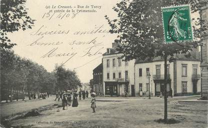 "CPA FRANCE 71 "" Le Creusot, Rue de Torcy et entrée de la promenade ""."