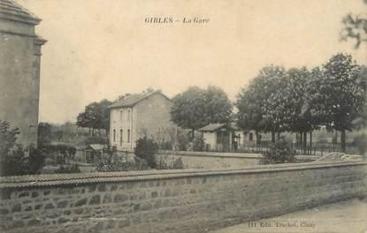 """CPA FRANCE 71 """"Gibles, La gare""""."""