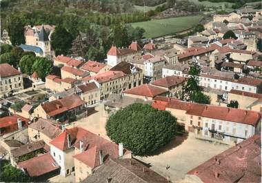 """CPSM FRANCE 71 """"Lugny les Macon, La grande place, l'église, le château""""."""