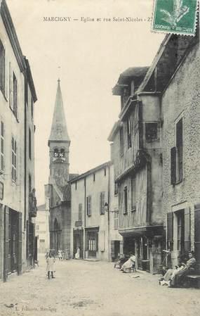 "CPA FRANCE 71 ""Marcigny, Eglise et rue St Nicolas""."