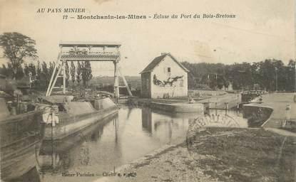 """CPA FRANCE 71 """"Montchanin les Mines, Ecluse du Port du Bois Bretoux"""". / PENICHE"""